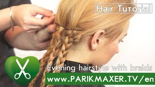 Evening hairstyle with braid.  parikmaxer tv english version
