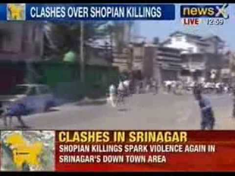 NewsX: J&K Protests - Clashes in Srinagar between Police and Protestors