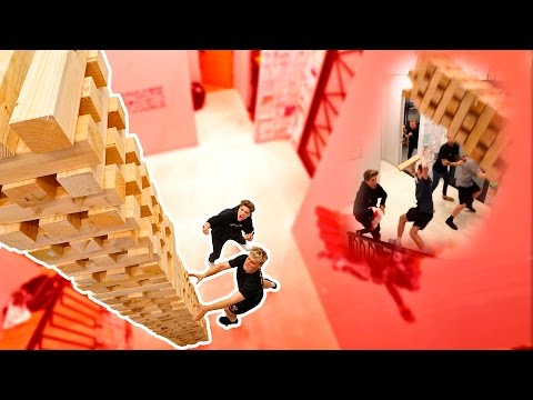 WORLDS BIGGEST GAME OF JENGA (INSANE TOWER FALL)