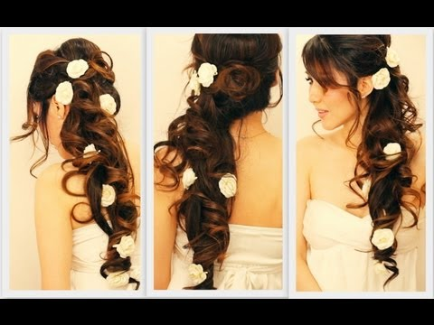 ★ ELEGANT SIDE-SWEPT CURLS WEDDING PROM HAIRSTYLES TUTORIAL   CURLY BRIDAL UPDO FOR LONG HAIR