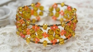 How to Make a Vintage Flower Cuff Bracelet with Crystal and Seed Beads