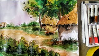 Easy landscape watercolour painting for beginners step by step | landscape painting | ever art