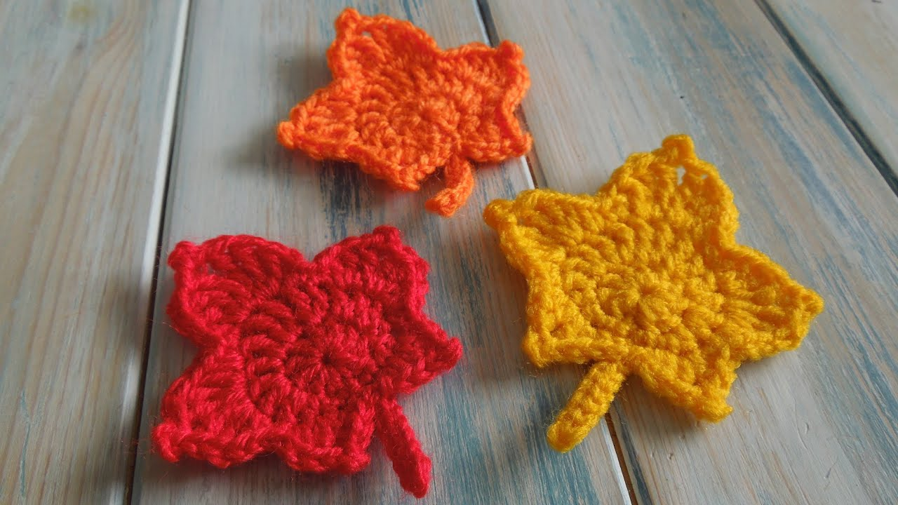 Knit Maple Leaf Pattern Free : (crochet) How To - Crochet a Maple Leaf - YouTube