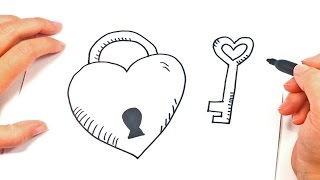 How to draw a Heart with Key | Heart Easy Draw Tutorial