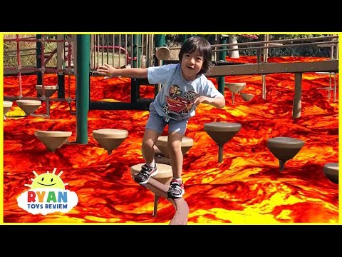 The floor is Lava challenge Family Fun Kids Pretend playtime with Hide N Seek and Chase