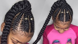 Stitch Braid Ponytail on Natural Hair