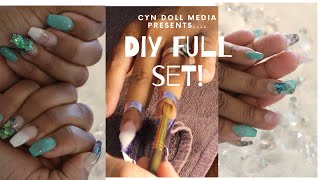 D.I.Y ACRYLIC NAILS!!! COFFIN NAILS!!