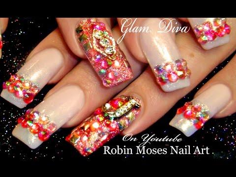 Nail Art Tutorial   Diva Nail Art   Lush Pink Diamond Bling Nails
