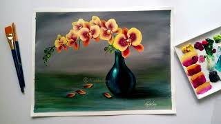 Step by Step acrylic painting on canvas for beginners | Orchid flower vase painting tutorial