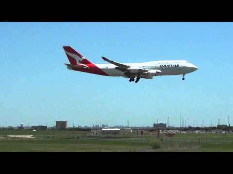 Qantas Airlines 747-400ER Lands at Dallas-Fort Worth International Airport