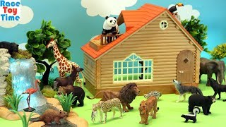 Toy Safari Jungle and Forest Animals in the Cabin - Fun Animal Toys For Kids