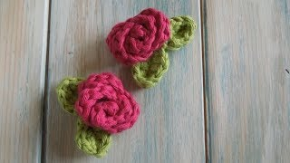 (crochet) How To - Crochet a Mini Rose with Leaves - Yarn Scrap Friday