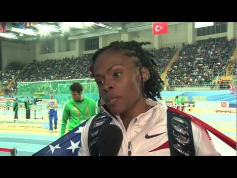 Chaunte Lowe after high jump gold at Istanbul World Indoors 2012