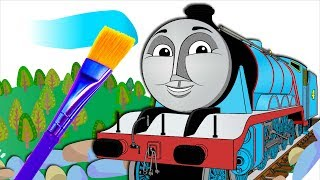 Coloring GORDON train for kids. Drawing animation Thomas and Friends. Colouring book page.