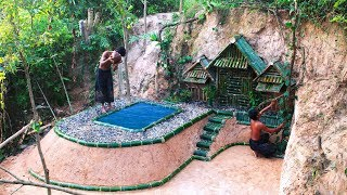 Build Most Secret House Underground The Cliff And Beautiful Swiming pool