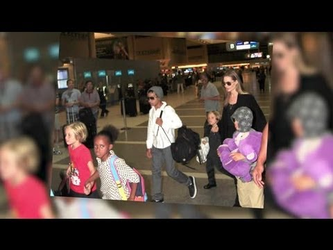 Angelina Jolie Guides Her Six Children Through LA Airport as the Family Relocate to Australia