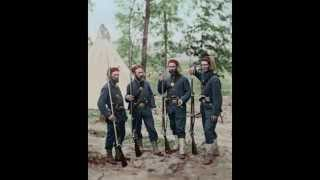 Colorized Photo of 4 Civil War Zouaves