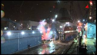 US Zumwalt Destoryer #2 900 ton deckhouse lift. Bath Iron Works