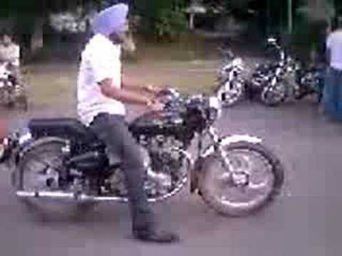 punjabi munde doing Wheelie on Bullet