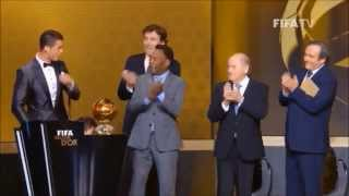 Crazy and hilarious speech by ronaldo  ( Golden ball ) 2014 !!!!!!