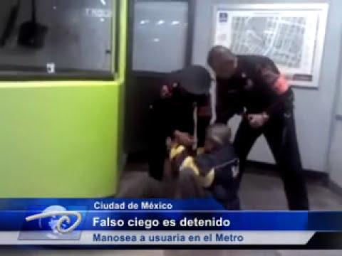 Ciudad de México.-  Falso ciego es detenido. Manosea a usuaria en el Metro.