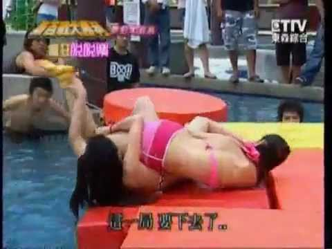 Sexy Japanese Tv Game #2: Girls In Bikini Fighting, Who Takes Off The Sock First, Wins! video