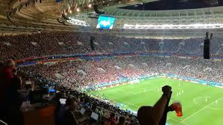England players trying to score while Croatia players were celebrating Mandzukic wining goal