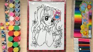 Đồ chơi TÔ MÀU NƯỚC tranh cô gái bên khóm hoa cùng chị Chim Xinh | Learn colors