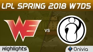 WE vs IG Highlights Game 1 LPL Spring 2018 W7D5 Team WE vs Invictus Gaming by Onivia