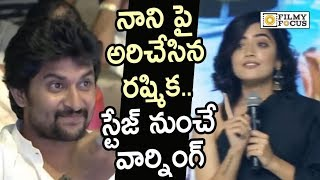 Rashmika Mandanna Warning Nani on Stage @Devadas Movie Audio Launch