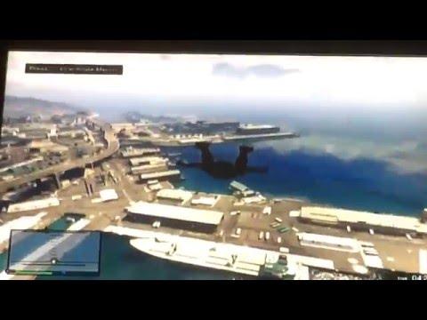 GTA V epic skydive stunt (skydive through the crane of a ship!)