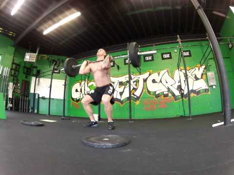 7min AMRAP 5 Thrusters@135lbs 5 Chest to Bar Pullups =8+7