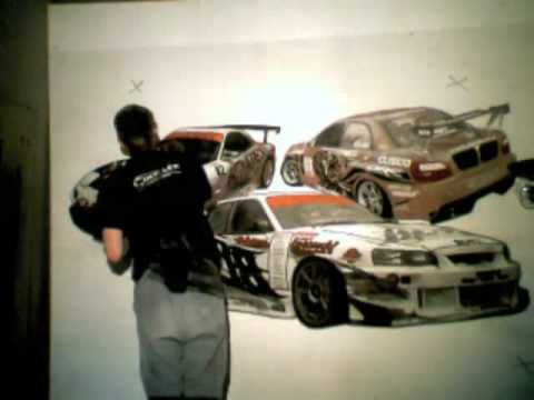 painting my wall with Japanese Drift Cars
