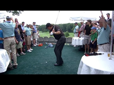 Phil Mickelson thrills fans with shot from hospitality area at Barclays