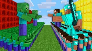 WHO WILL WIN THE BATTLE ZOMBIE ARMY VS NOOB AND PRO ARMY? Minecraft Noob vs Pro Animation