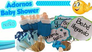 COMO HACER ADORNOS BABY SHOWER NIÑO - DECORACIÓN DIY MANUALIDADES