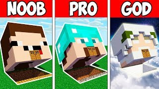 Minecraft NOOB vs PRO vs GOD : BLOCK HEAD HOUSE in Minecraft ! Animation