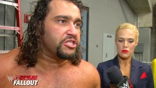 Rusev reacts to the Russian flag getting caught above the ring - Raw Fallout - February 2, 2015