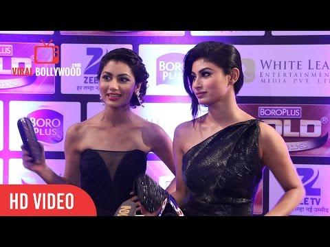 Mouni Roy & Sriti Jha (Pragya) at Zee Gold Awards 2016