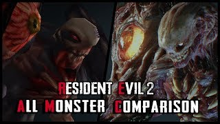 RESIDENT EVIL 2 REMAKE - ALL MONSTER COMPARISON (COMPARACIÓN MONSTRUOS) - ORIGINAL VS REMAKE