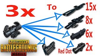 Convert 3x Scope To 15x 8x 6x 4x 2x &  Red Dot   Insane Glitch   PUBG Mobile