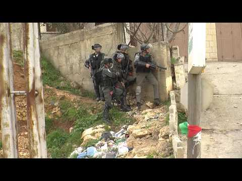 Solidarity protest with prisoners, Ofer military prison, West Bank, 15.2.2013.wmv