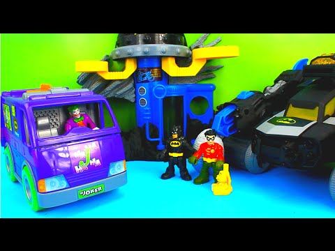 Imaginext Villain Van Fisher Price Joker & Penguin try take Batman & Robin Surprise Egg! Just4fun290