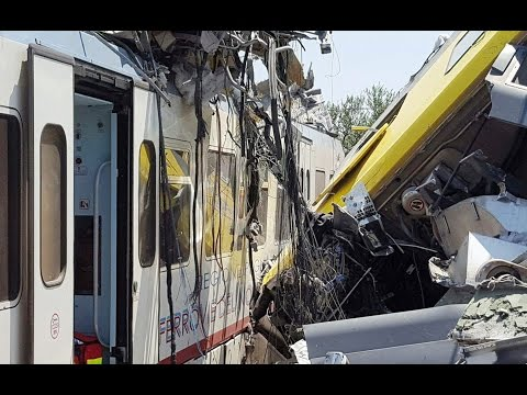 Aftermath of deadly train crash in Italy