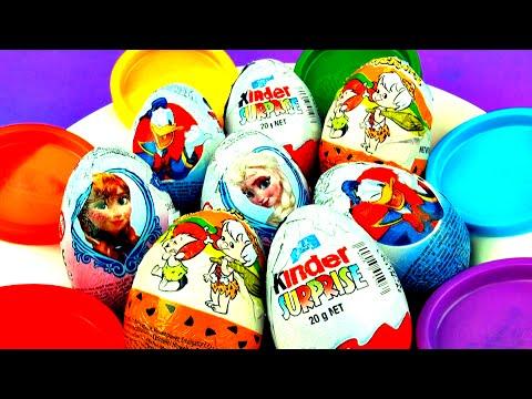 Kinder Surprise Eggs Unboxing Disney Frozen Princess Flintstones...