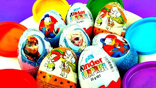 Kinder Surprise Eggs Unboxing Disney Frozen Princess Flintstones Cartoon Donald Duck Toys FluffyJet
