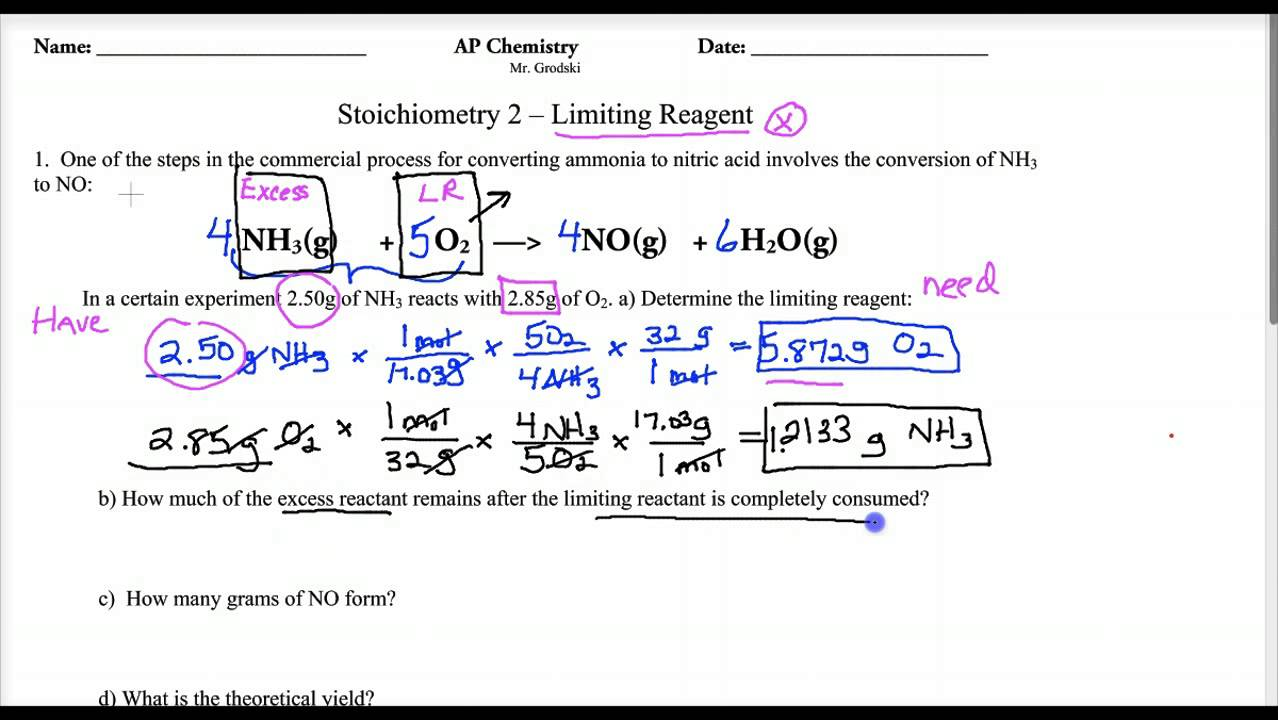 Chemistry worksheet limiting reactant worksheet