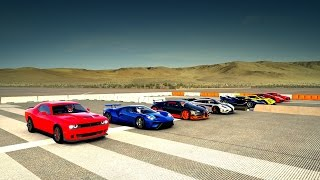 World's Greatest Drag Race! One:1, Veyron, P1 GTR, FXXK, Lykan, Ford GT, HELLCAT, Audi R8 - Forza 6