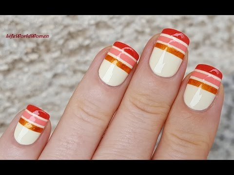 STRIPING TAPE NAIL ART Tutorial / Easy Fall Nails Design - YouTube