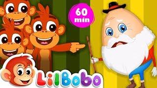 Humpty Dumpty Sat On a Wall & Little BoBo Popular Nursery Rhymes | Five Little Monkeys